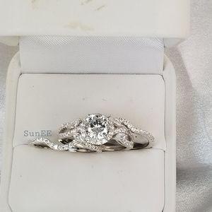 3pcs S925 Halo Brilliant Diamond Cut Wedding Ring